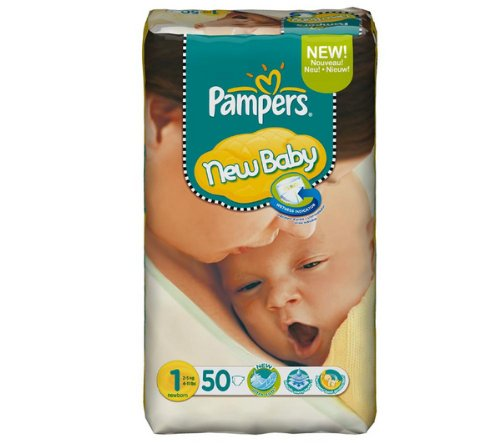 Price comparison product image Pampers Nappies - New Baby Size 1 Newborn (2-5 kg) - Economy pack 1 x 50 nappies by Pampers