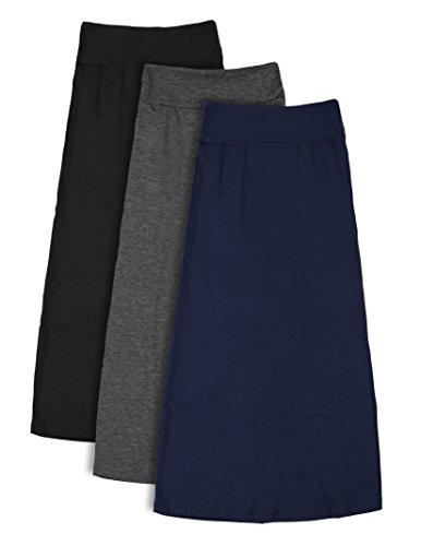 3 Pack : Free to Live Girl's 7-16 Maxi Skirts - Great for Uniform