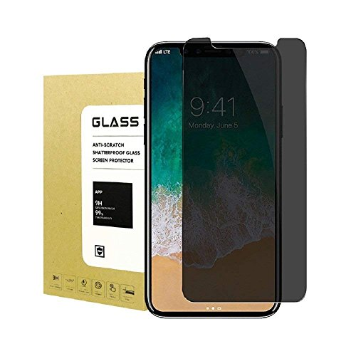 for iPhone X Privacy Anti-Spy Tempered Glass Screen Protector[2Pcs],Caryan[Full Coverage] Tempered Glass Screen Protector for iPhone X(Black)