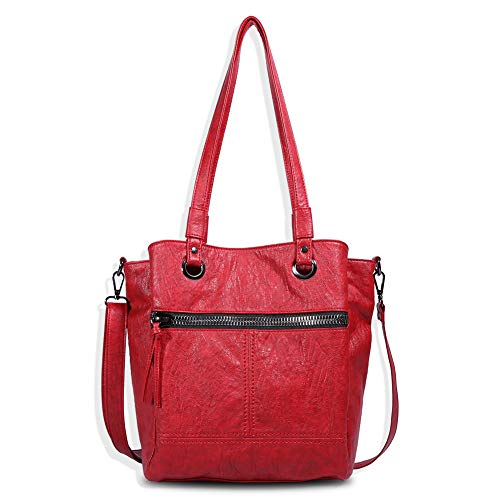 Angel Barcelo Womens Ladies Casual Vintage Hobo Bag Daily Purse Top Handle Shoulder Tote Shopper Handbag Red ()