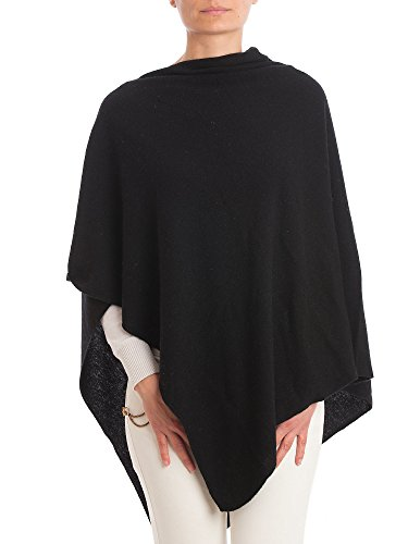 DALLE PIANE CASHMERE - Poncho Cashmere Blend - Made in Italy, Color: Black, One Size