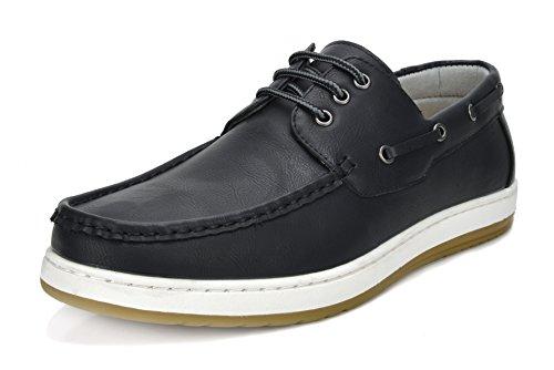Bruno Marc Men's Pitts_12 BLK/BLK Loafers Moccasins Boat Shoes Size 08.5