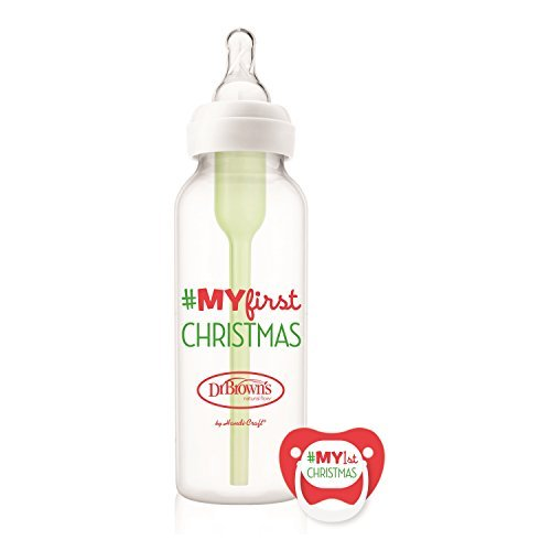 Dr. Brown's Holiday Options Bottle, 1- 8 oz. bottle with 1 Prevent Pacifier - My 1st Christmas -