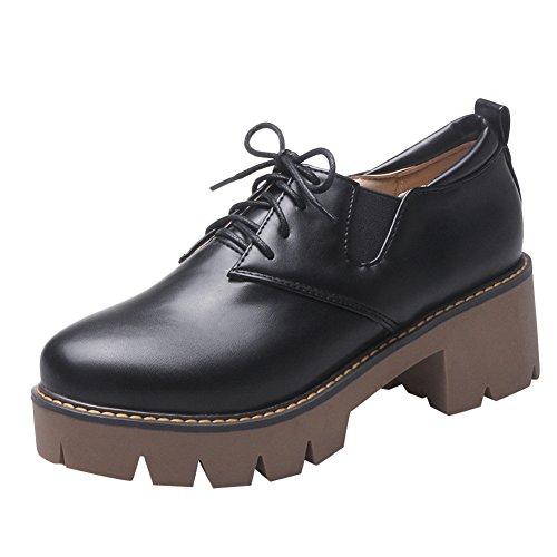 Latasa Dames Lace Up Dikke Hak Oxford Schoenen Zwart
