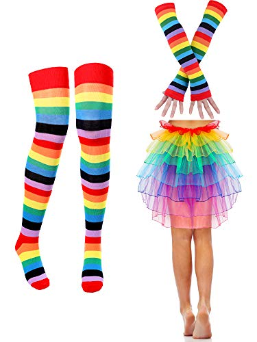 Women Costume Accessories Set, Include Rainbow Gloves Socks Dress Skirt for Women and Girl Party Accessory]()