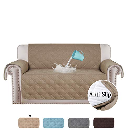 H.VERSAILTEX 100% Waterproof Loveseat Cover for Leather Couch Non-Slip Furniture Covers for Sofa and Loveseat Furniture Protector Microfiber Soft Protector/Slipcovers (Love Seat: Taupe) - 75