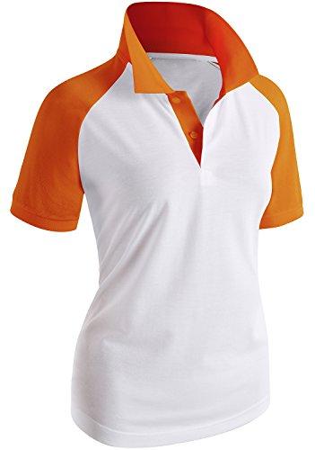 CLOVERY Women's Tennis Wear Raglan Short Sleeve Polo Shirt Orange US S/Tag S (Shirt Tennis Raglan)