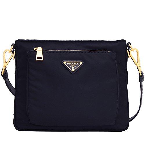 Prada Women's Tessuto Saffian Navy Blue Crossbody 1BH693 - Prada Blue Handbag