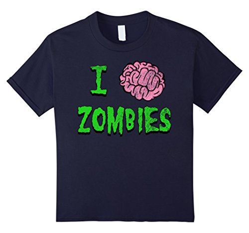 Post Apocalyptic Girl Costume (Kids I Heart Zombies - I Brain Zombies Shirt - Distressed Grunge 12 Navy)