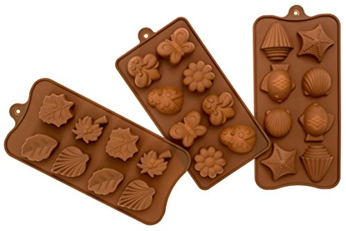 Candy Molds BPA-Free Silicone Mold For Chocolate, Soap, Jello and Ice Cube Trays-3 Pack Of Butterfly, Flower and Shell Shapes for Baking and Decorating Desserts for Christmas Parties and More (Decorative Mold)