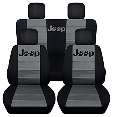 Designcovers Fits 2013 to 2017 Jeep Wrangler 4 Door Paw Print Seat Covers 21 Color Options