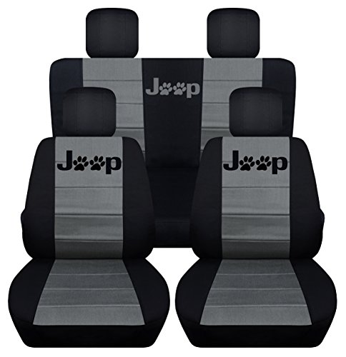 Front and Rear Seat Covers for a 2008-2012 Jeep Liberty (Black Charcoal) (Jeep Covers Liberty Seat Cover)