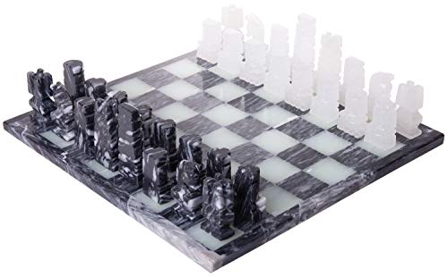Handcrafted Aztec Style Gray & White Onyx Weighted Chess Set - 13.5