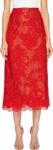 Marchesa Women's Corded Lace Tea Length Skirt Red 2 ()