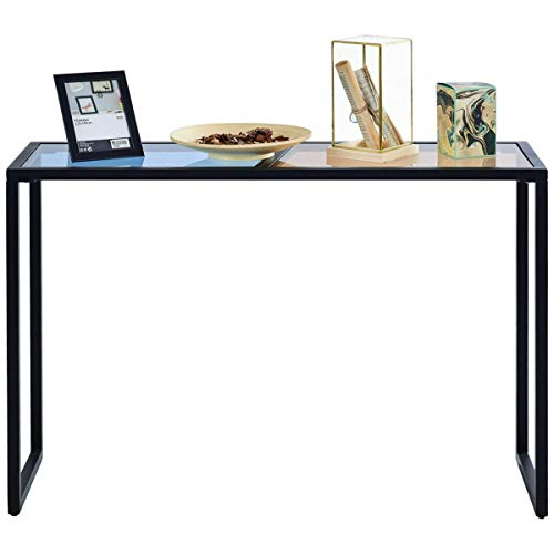 Consol Media Table Decor Tempered Glass Top Metal Frame Beautiful Shape Entryway Hallway Home Furniture New for Living Room, entryway, Hallway, or Dining Room.