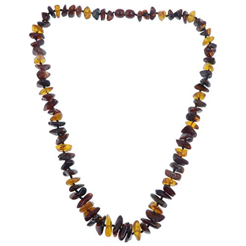 Amber Necklace Boutique Multi-Color Yellow Red Orange Black Knotted Genuine Baltic Gemstone B06 ()
