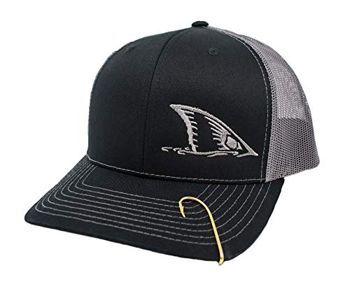 Redfish Tail Embroidered Cap Design Red Drum Fishing (Black/Charcoal)