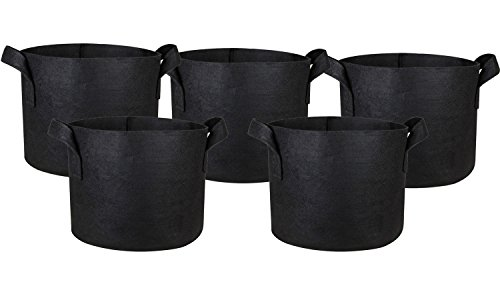 Hongville 5-Pack Grow Bags /Aeration Fabric Pots w/Handles (Black) (7-Gallons) (Pots Square Grow)