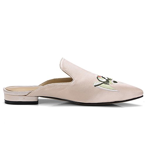 Handmade Silk Flat Shoes Nine Comfort Heel Seven Pump Mule Emboridered Pointed Toe Classy apricot Women's SX85Oq5