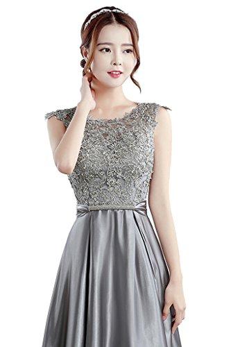 Prom Length Women's Wedding Scoop Gray Dress for Evening Floor Dress BessWedding n1FqXZUq