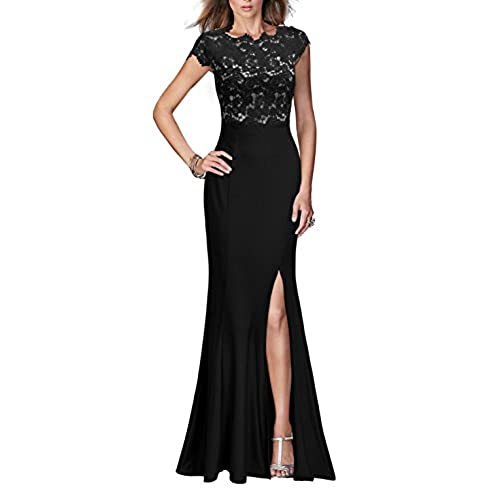 REPHYLLIS Womens Retro Floral Lace Vintage Wedding Maxi Fromal Long Dress (XXL,Black)