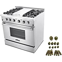 36″ PROFESSIONAL STEEL GAS RANGE WITH GRIDDLE + LP Conversion Kit Bundle