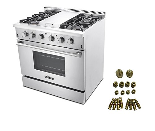 36″ PROFESSIONAL STEEL GAS RANGE WITH GRIDDLE + LP Conversion Kit ()