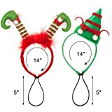 EXPAWLORER 2Pcs Holiday Dog Headband for Christmas- Adorable Pet Hair Bands Accessories for Dog and Cat