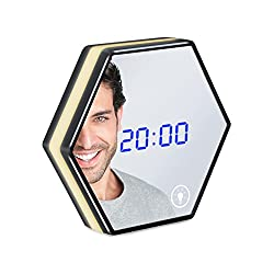 Electric Alarm Clock LED Light, BeQool 5 in 1 Multifunction Digital Mirror Alarm Clock with Touch Dimmable Night Lights 3 Groups Alarm, Time/Alarm/Temperature Display USB Travel Clock (Black)