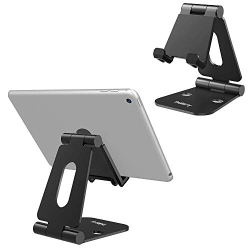Nulaxy Foldable Tablet Phone Stand Compatible with Nintendo Switch Desk Holder for iPad Air Pro iPhone XS/XR/XS Max/X 8 7 6 Plus, Samsung Galaxy Tab, Android Phones, Tablets E-Readers, Black Plus