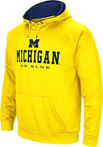 (Colosseum New Michigan Wolverines Men X-L Pullover Hooded Sweatshirt Yellow/Blue )