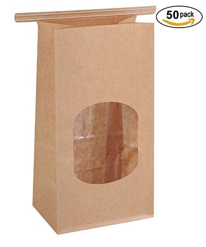BagDream Bakery Bags Wax Kraft Paper Bags 50Pcs 3.54x2.36x6.7