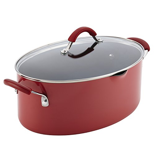 Rachael Ray Porcelain Enamel Cookware - Rachael Ray Cucina Hard Porcelain Enamel Nonstick Pasta Pot, Covered Oval with Spout, 8-Quart, Cranberry Red