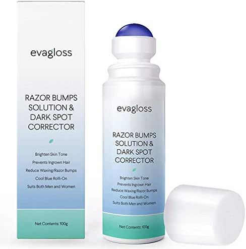 Evagloss Razor Bumps Solution- After Shave Repair Serum for Ingrown Hairs and Razor Burns, Dark Spot Corrector Skin Lightening, Roll-On for Men and Women -100g