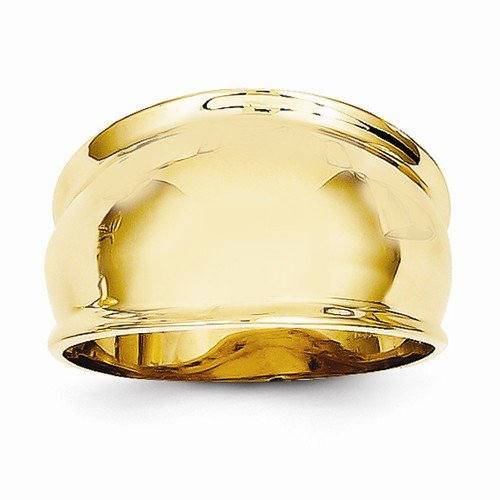 Size - 7.5 - Solid 14k Yellow Gold Ridge edged Dome Ring (12mm) by Sonia Jewels (Image #2)