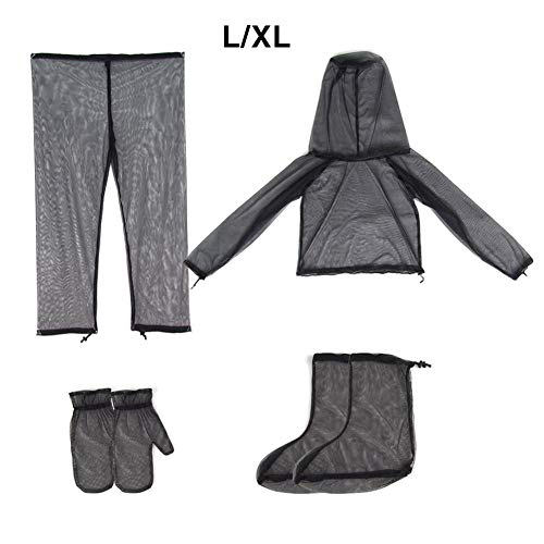 Ditional Anti-Mosquito Suit Unisex Lightweight Visible Mesh Net Summer Outdoor Clothing with Coat Trousers Mittens Gloves Pants Mosquito Suit for Fishing Hiking Camping Gardening