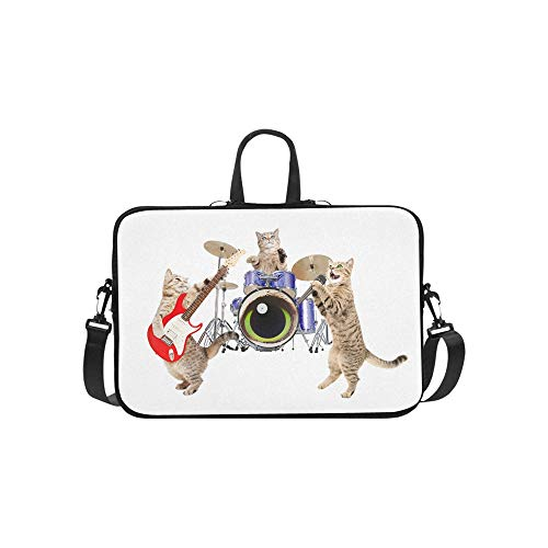 Laptop Bag Funny Animal with Acoustic Guitar Shoulder Bag Crossbody Bag Double Zipper for Men Women College Students Teens Business Travelling Commercial Affairs Leisure