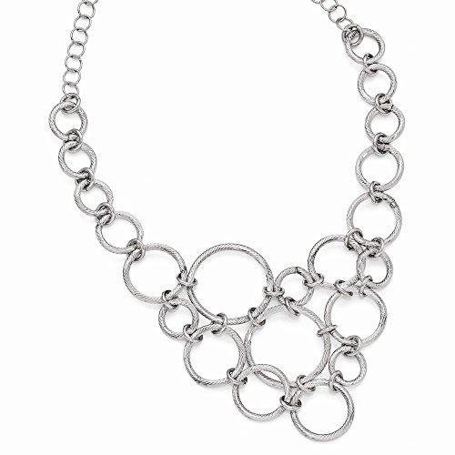 Leslie's Sterling Silver Polished & Dia-Cut Fancy Link - Fancy Dia Necklace
