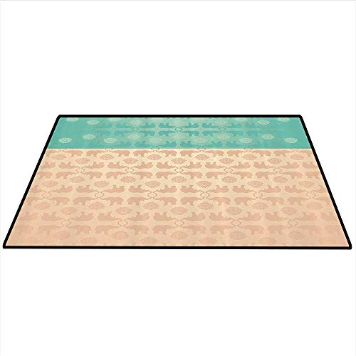 Ethnic Anti-Static Area Rugs Ethnic Elephant Animal Design Pastel Abstract Floral Swirls Icons Art Print Soft Area Rugs 4'x5' (W120cmxL150cm) Turquoise and Coral