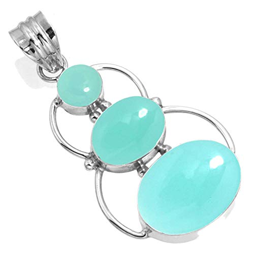 Natural Aqua Chalcedony Women Jewelry 925 Sterling Silver Pendant