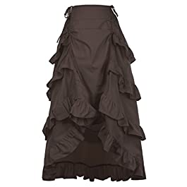 Belle Poque Women's Gothic Steampunk Vintage Cotton Skirts Gypsy Hippie GF222