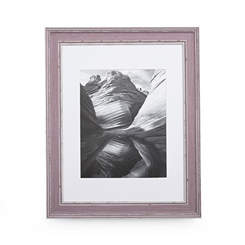 11x14 Picture Frame Distressed Rose - Matted to 8x10, Frames by EcoHome Victorian Wood Picture Frame