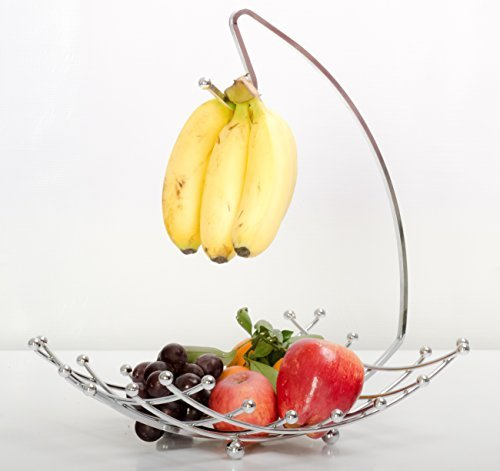 Fruit Basket with Banana Holder, Luxe Premium's Fruit Basket with Banana Hanger, Elegant and Decorative Chrome Fruit Bowl with Banana Hook, Amazing Design, Fashionable and Stylish Look