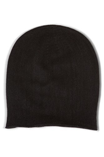 Fishers Finery Women's 100% Pure Cashmere Slouchy Beanie; Classic (Black)