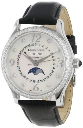 Louis Erard Women's 44204SE10.BDC02 1931 Automatic Black Leather Perpetual Date Diamond Watch