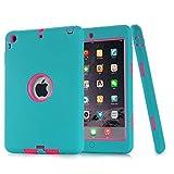 iPad Mini Case, iPad Mini 2/ 3 Case - MAKEIT 3in1 Hybrid Shockproof Case For iPad Mini 1/2/3 (Dark Green/Rose)