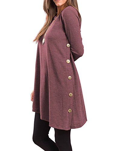 - Slivexy T Shirt Dresses For Women Plus Size, Women's Long Sleeve Scoop Neck Button Side Sweater Tunic Dress Large Purple