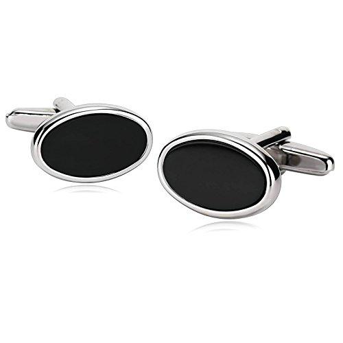 eb6af8ce9508 Mejor Daesar Joyería Gemelos de Hombre Gemelos Acero Inoxidable Gemelos  Camisa Gemelos Oval Gemelos Plata Negro