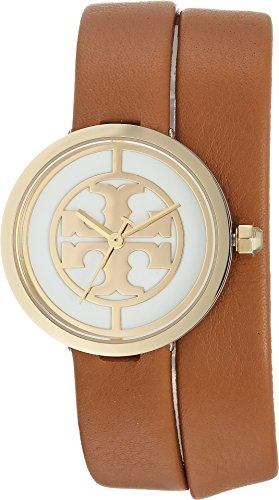 Tory Burch Women's The Reva Leather Wrap Watch, Gold/Ivory/Luggage, One ()