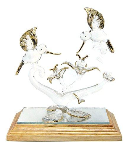 NaCraftTH Hummingbirds & Flowers Handicraft Glass Blowing Artwork Gold Figurine Home Decor Fantasy Statue Handmade Romantic Gift